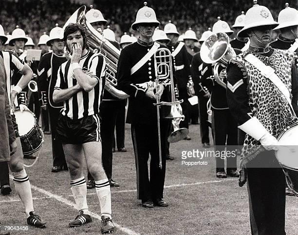 Sport Football 5th May 1974 FA Cup Final Wembley London England Liverpool 3 v Newcastle United 0 Newcastle United striker Malcolm MacDonald makes a...