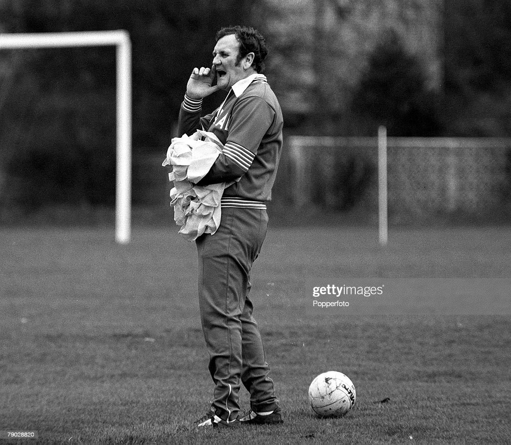 Sport, Football, 7th February 1977, England Manager Don Revie is pictured at a training session