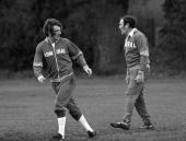 Sport Football 7th February 1977 England Team Training Queens Park Rangers and England's Stan Bowles is pictured with National team Manager Don Revie