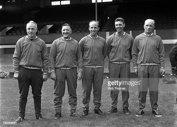 Sport Football Anfield England July 1968 Liverpool FC Manager Bill Shankly is pictured with his coaching staff LR Bob Paisley Ronnie Moran Joe Fagan...