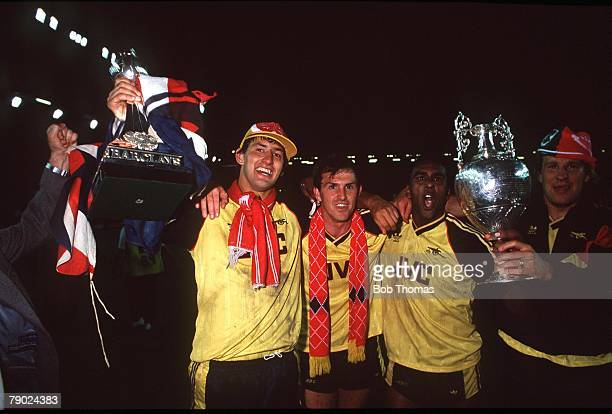 Sport Football Anfield England League Division One 26th May 1989 Liverpool 0 v Arsenal 2 Arsenal's Tony Adams Martin Hayes David Rocastle and Paul...