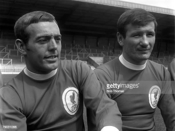 Sport Football Anfield England Liverpool FC Photocall 196566 season Liverpool FC's Ian St John and Tommy Smith