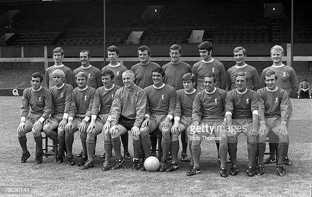 Sport Football Anfield England The Liverpool FC First Team squad for the 196970 season line up together for a group photograph Back Row LR Geoff...