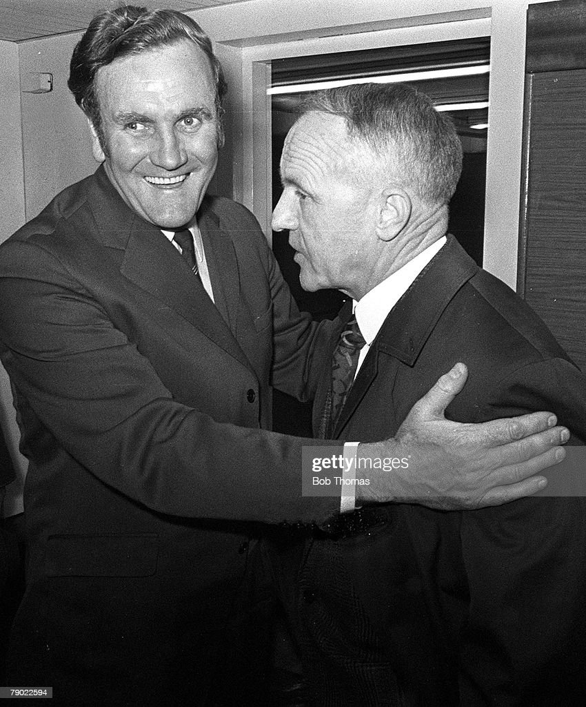 Sport, Football, Anfield, Liverpool, England, 23rd April 1973, League Division One, Liverpool 2 v Leeds United 0, Liverpool Manager Bill Shankley (right) is congratulated by Leeds Manager Don Revie after his team had won the League Championship