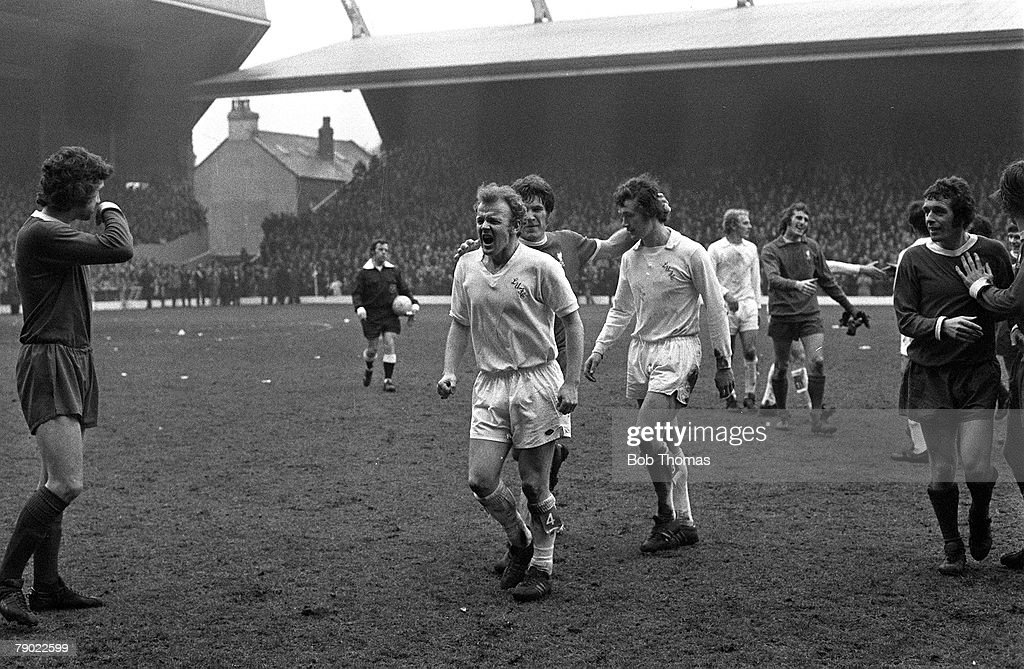 Sport Football Anfield Liverpool England 23rd April 1973 League Division One Liverpool 2 v Leeds United 0 Leeds United's Billy Bremner shouts out in...