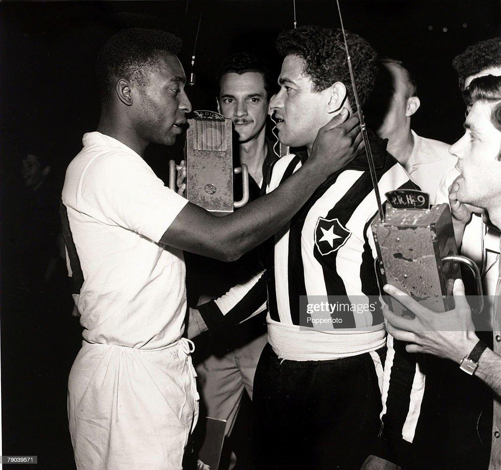 Sport Football August 1963 Brazil stars Garrincha and Pele