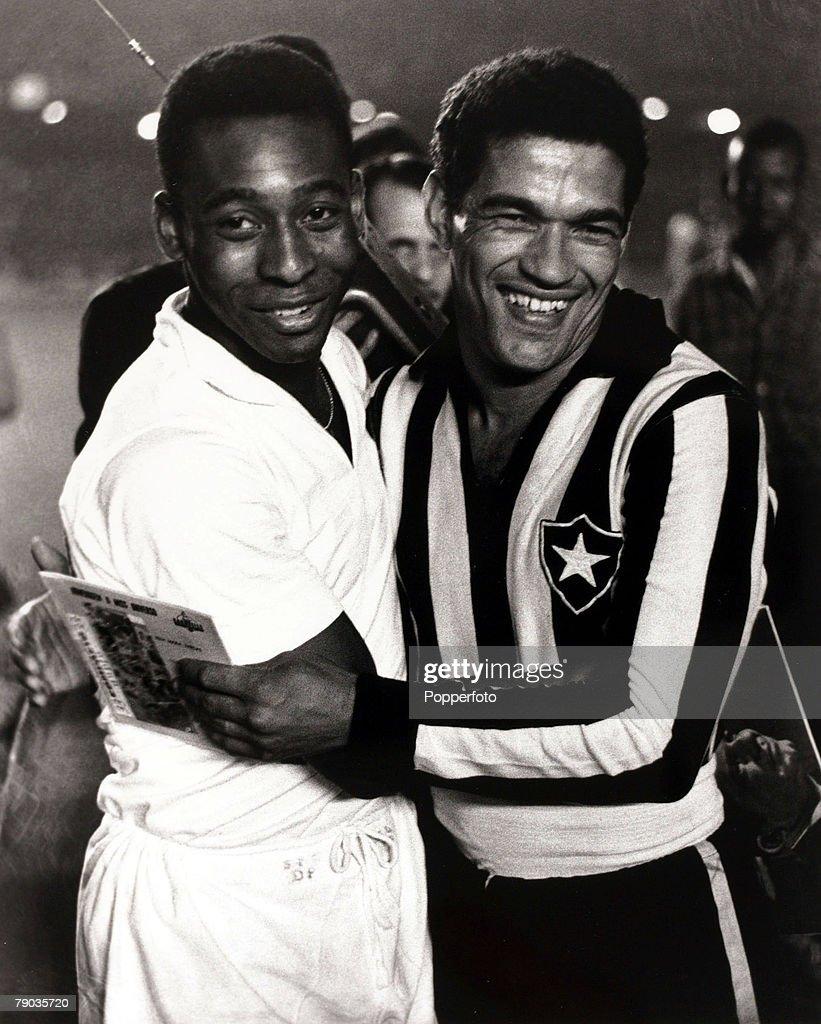 Sport Football August 1963 Famous Brazilian stars Pele left