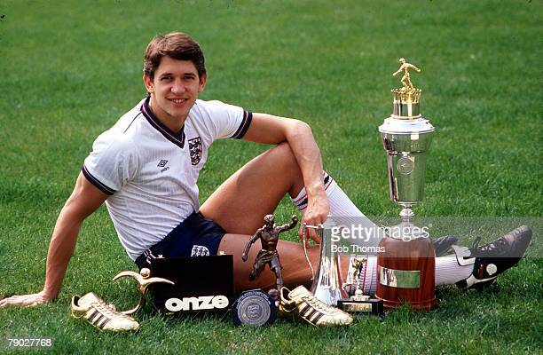 Sport Football Barcelona Spain 19th March 1987 England striker Gary Lineker is pictured with some of the awards that he received during 1986...