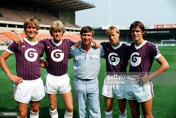 Sport Football Belgium Circa 1980's Denmark Manager Sepp Piontek is pictured with four of his International players who all play for Belgian club...