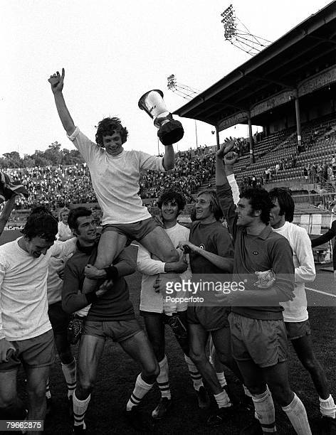 Sport Football Bologna Italy 12th June 1971 AngloItalian Cup Final Bologna 1 v Blackpool 2 Blackpool captain John Craven is carried by his...