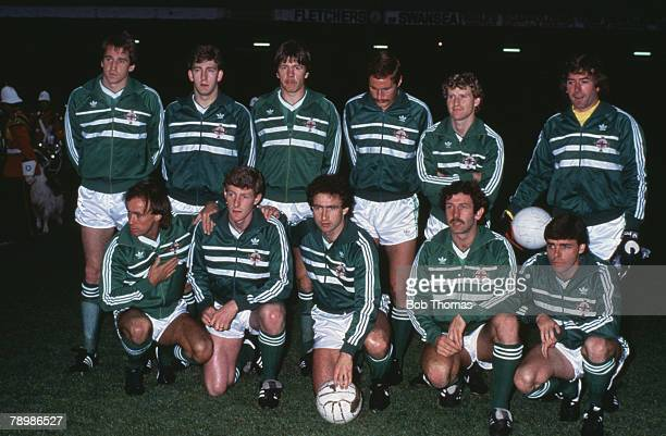 Sport Football British Championship Swansea 22nd May 1984 Wales 1 v Northern Ireland 1 Northern Ireland Team group Back Row LeftRight John McClelland...