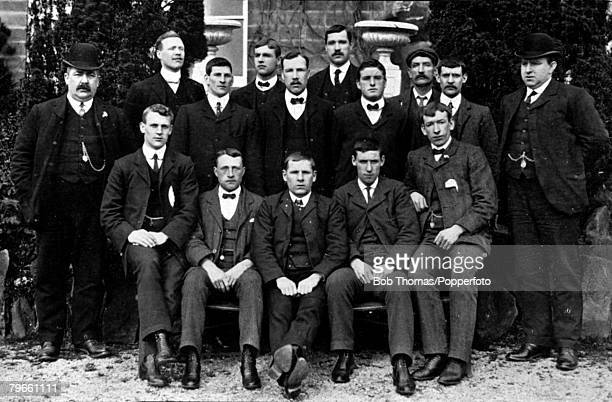 Sport Football circa 1906 The Bristol City FC team pose together for a group photograph Back row LR WSMaxwell ASpear WBennett RBatten Middle row lr...