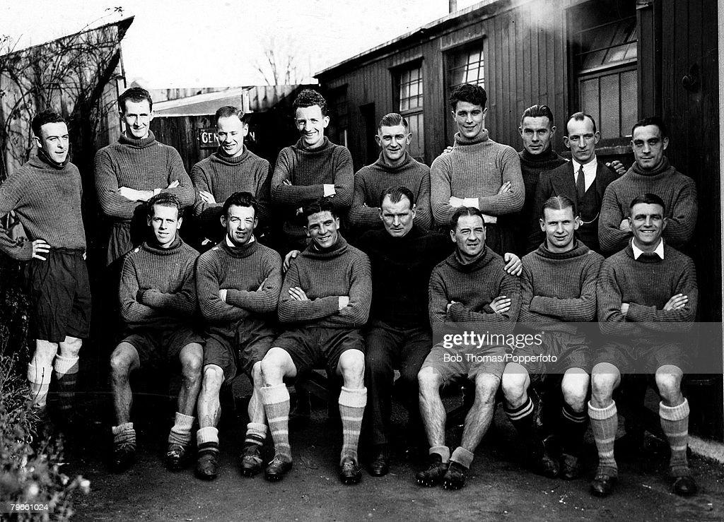Sport Football circa 1930 Arsenal FC after preseason training The Arsenal players in1930 included Preedy Parker Eddie Hapgood Baker Seddon John Hulme...