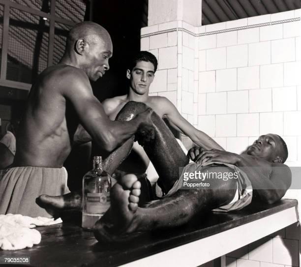 Sport Football circa 1956 Brazil star Djalma Santos receiving treatment from masseur / trainer Mario Americo Djalma Santos was a much capped...