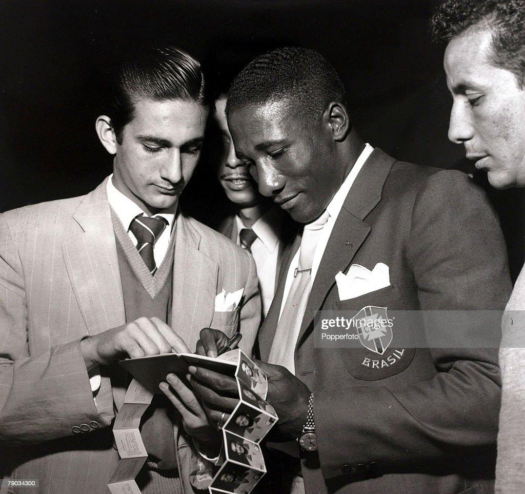 Sport Football circa 1957 Brazil star Djalma Santos a defensive