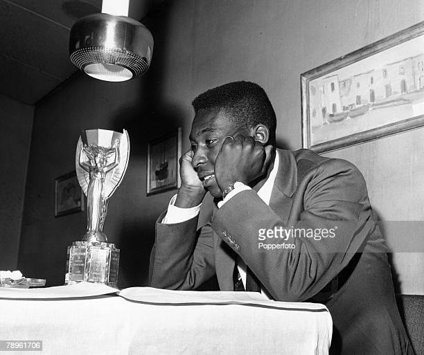 Sport Football circa 1958 Brazil's young star Pele with his eyes on the ultimate prize the Jules Rimet World Cup trophy Pele was perhaps the most...