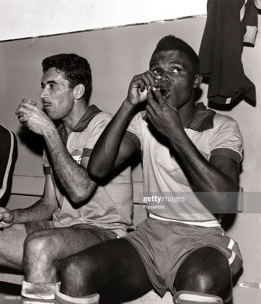 Sport Football circa 1960 Brazil stars Nilton Santos left and
