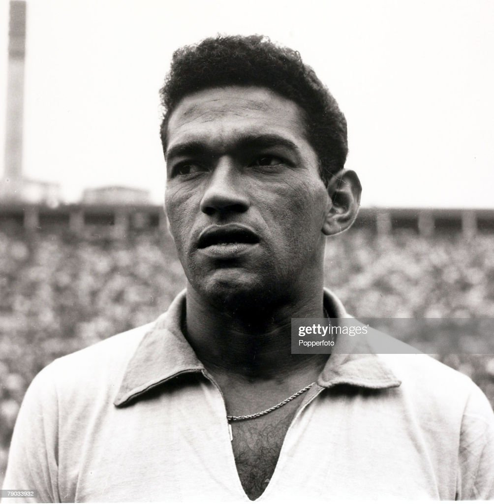Sport, Football, circa 1962, Brazil star <a gi-track='captionPersonalityLinkClicked' href=/galleries/search?phrase=Garrincha&family=editorial&specificpeople=939039 ng-click='$event.stopPropagation()'>Garrincha</a> who played 60 times for Brazil and with he and Pele in the team the national side never lost, his first international defeat occurred in his last game for Brazil in the 1966 World Cup Finals in England, He was born with crippled legs and was left with a distorted left leg after an operation but went on to be one of the best dribblers in football winning 2 World Cup winners medals with Brazil in 1958 and 1962 and nicknamed -The Little Bird+