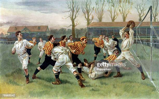 Sport Football Colour illustration circa 1900Sport Football Painting by WA Overend depicting a football match in which the goalkeeper has caught the...