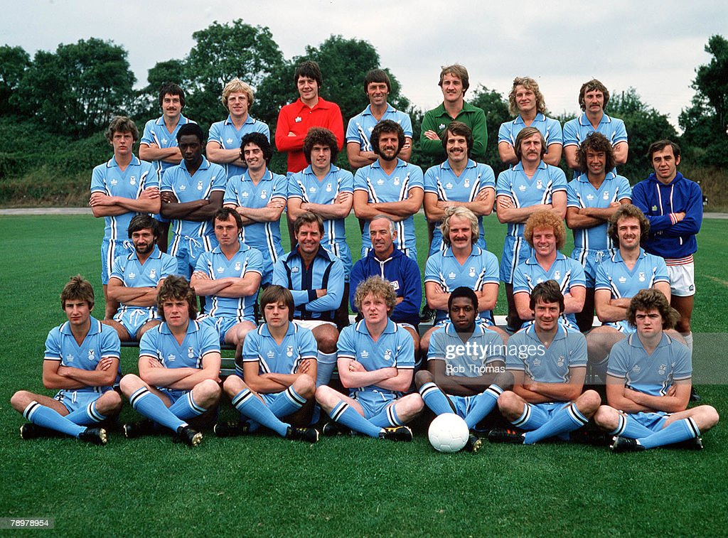 Sport Football Coventry City Football Club Team Photograph Circa lr Graham Oakey Brian Roberts Les Sealey Mick Coop Jim Blyth Ray Gooding Barry...