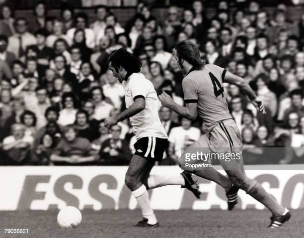 Sport Football Craven Cottage London England 12th September 1976 League Division Two Fulham 0 v Wolverhampton Wanderers 0 Fulham's George Best races...