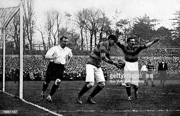 Sport Football Crystal Palace London 1st April 1905 England 1 v Scotland 0 Goalmouth action during the match