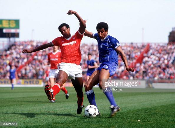Sport Football Division One City Ground England 21st April 1984 Nottingham Forest 5 v Birmingham City 1 Forest's Viv Anderson tries to block a shot...