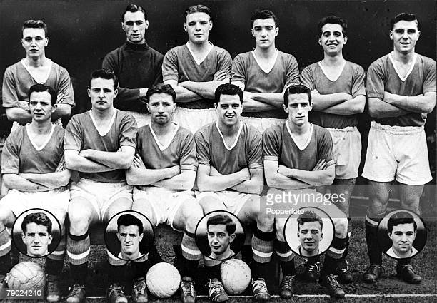 Sport Football England Manchester United FC 195556 winners of the first division championship Back Row Eddie Colman Ray Wood Mark Jones Bill Foulkes...