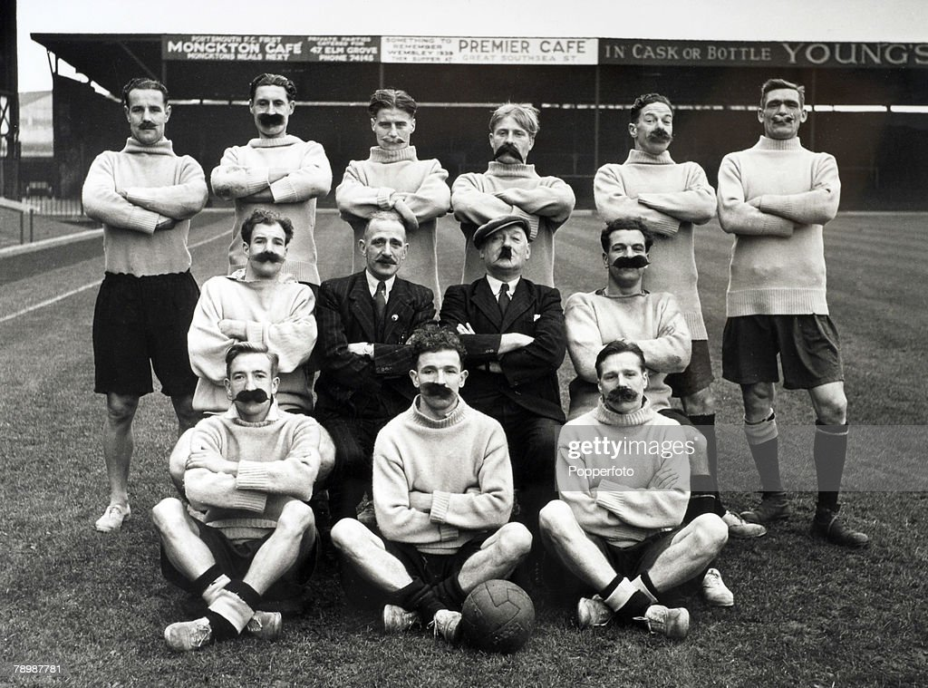 Sport Football England Portsmouth Team Group dressed up to look like the original 1898 team Back Row LR Flewin Butler Dickinson Froggatt Rookes and...