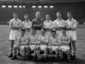 Sport Football England The Manchester City team pose together for a group photograph Back Row LR Jimmy Meadows Roy Little Bert Trautmann Ken Barnes...