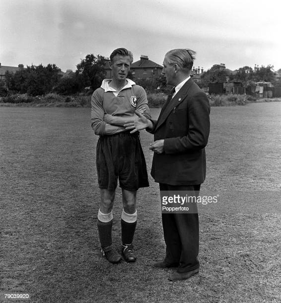 Sport Football England Tottenham Hotspur Manager Arthur Rowe chatting with former player Vic Buckingham who now coaches the 'up and coming' players...