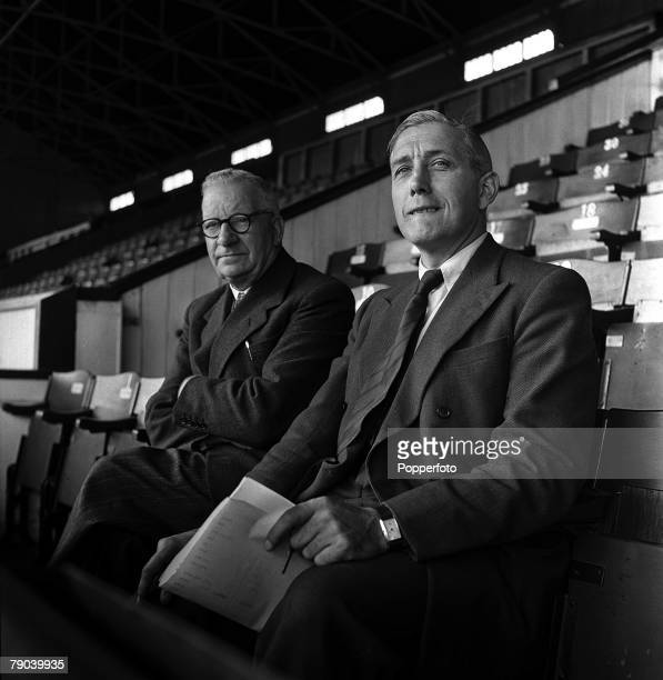 Sport Football England Tottenham Hotspur Manager Arthur Rowe sits with Director Fred Wale to watch a practice match