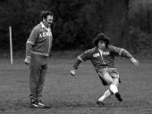 Sport Football England Training 7th February 1977 England's Kevin Keegan shoots for goal watched by Manager Don Revie during a training session