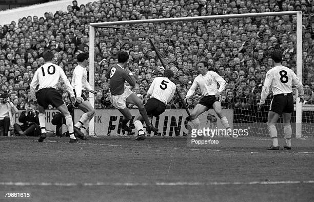 Sport Football English League Division One London England 27th March 1967 Manchester United 2 v Fulham 2 United's David Sadler shoots for goal...