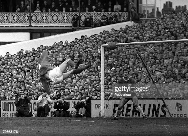 Sport Football English League Division One London England 27th March 1967 Manchester United 2 v Fulham 2 United's Denis Law flies through the air to...