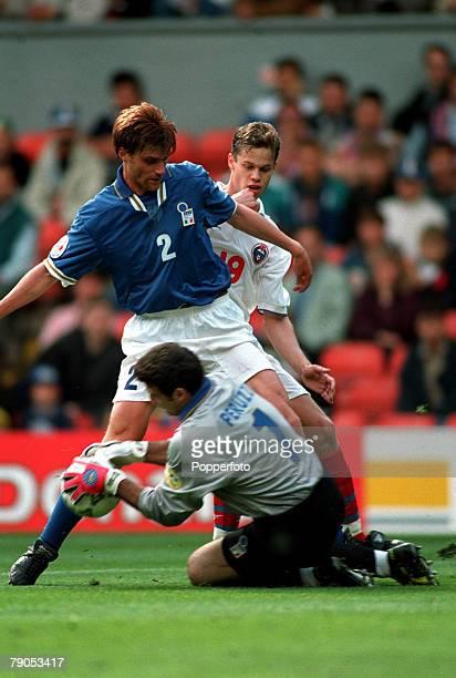 Sport Football European Championship 11thJune 1996 Italy 2 v Russia 1 Italy's Angelo Peruzzi takes the ball off teammate Luigi Appolloni