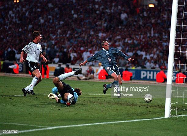 Sport Football European Championships 26th June 1996 Germany beat England 65 on penalties England's Paul Gascoigne misses a chance for goal in the...