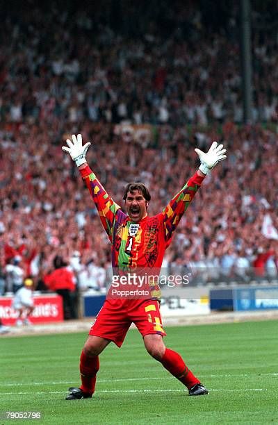 Sport Football European Championships 26th June 1996 Germany beat England 65 on penalties England goalie David Seaman celebrates Alan Shearer's goal