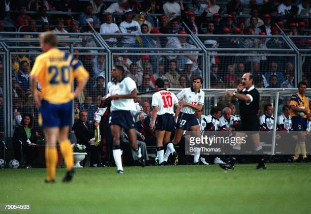 Sport Football European Championships Stockholm Sweden Group1 Sweden 2 v England 1 17th June England's Gary Lineker is substituted during his last...
