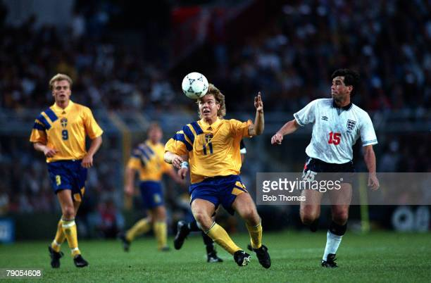 Sport Football European Championships Stockholm Sweden Group1 Sweden 2 v England 1 17th June Sweden's Tomas Brolin controls the ball