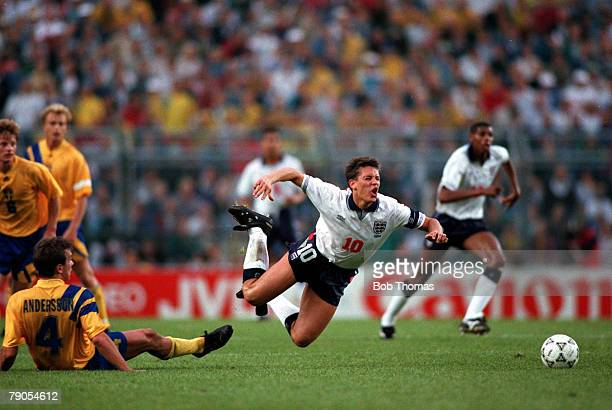 Sport Football European Championships Stockholm Sweden Group1 Sweden 2 v England 1 17th June England's Gary Lineker is fouled by Sweden's Patrik...