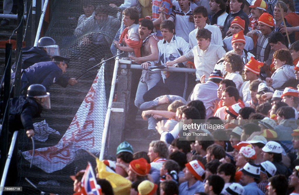 Sport Football European Cup Final Brussels 29th May 1985 Liverpool 0 v Juventus 1 Riot police try to control Liverpool supporters