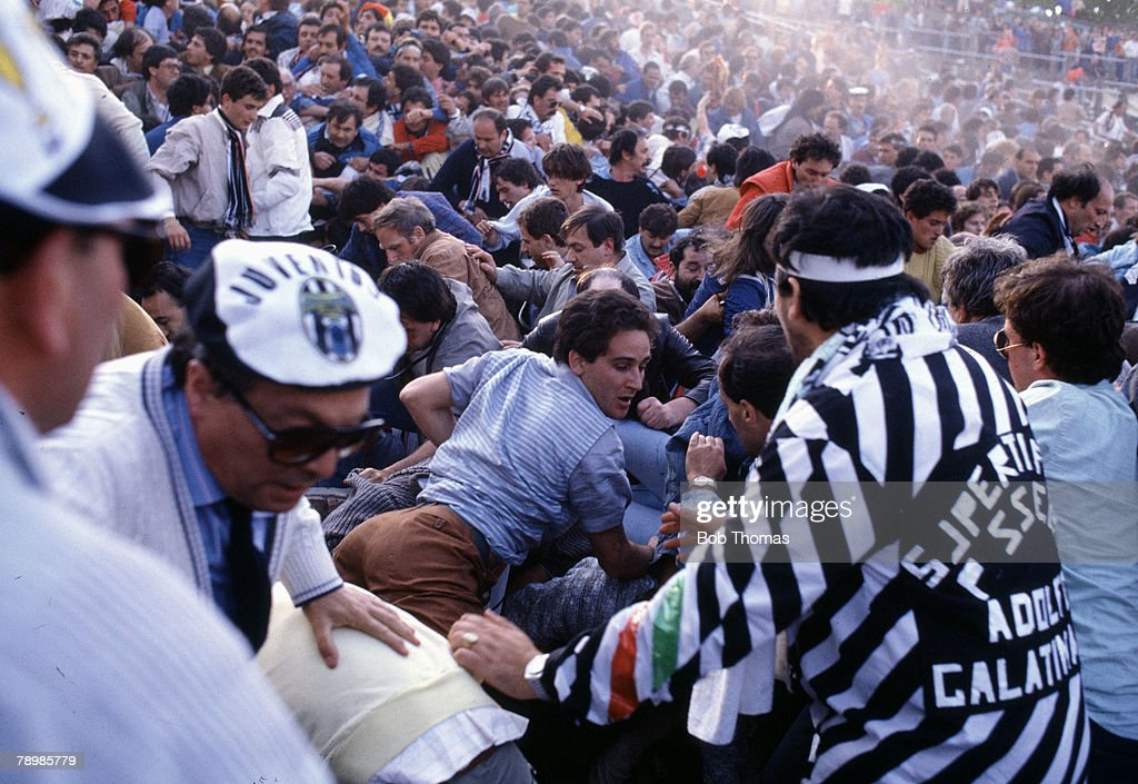 Sport Football European Cup Final Brussels 29th May 1985 Liverpool 0 v Juventus 1 Choas around the callapsed wall on the Juventus terrace