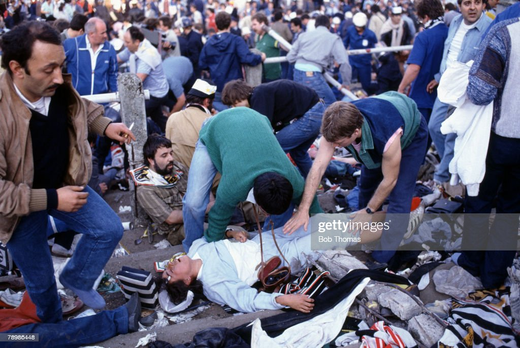 Sport Football European Cup Final Brussels 29th May 1985 Liverpool 0 v Juventus 1 Fatally injured fans on the Juventus terrace and stand area