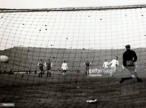 Sport Football European Cup Final Hampden Park Glasgow 18th May 1960 Real Madrid 7 v Eintracht Frankfurt 3 Real Madrids Ferenc Puskas scores their...