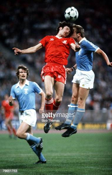 Sport Football European Cup Final in Munich 30th May 1979 Nottingham Forest 1 v Malmo 0 Nottingham Forest's Gary Birtles red jumping for a high ball