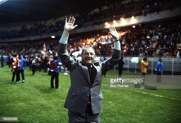 Sport Football European Cup Final Paris France 27th May 1981 Liverpool 1 v Real Madrid 0 Liverpool FC Manager Bob Paisley celebrates after the game