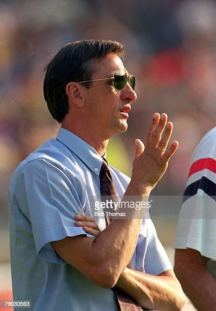 Sport Football European Cup Final Wembley London England 20th May 1992 Barcelona 1 v Sampdoria 0 Johan Cruyff the Barcelona coach