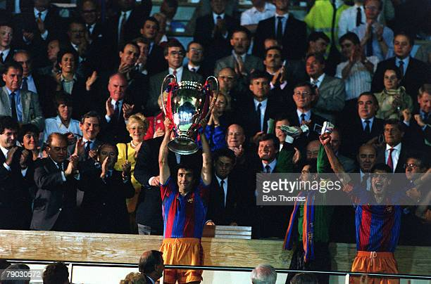 Sport Football European Cup Final Wembley London England 20th May 1992 Barcelona 1 v Sampdoria 0 Barcelona's Jose Alesanco holds the trophy aloft at...