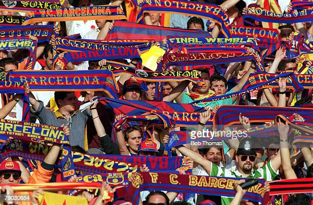 Sport Football European Cup Final Wembley London England 20th May 1992 Barcelona 1 v Sampdoria 0 The colourful flag and scarf waving Barcelona fans